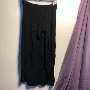 Black Skort Maxi Dress Shorts Skirt Flowey Goth